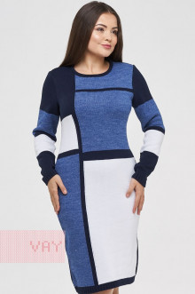 Платье женское 182-2338 Фемина (Темно-синий/белый/джинс)